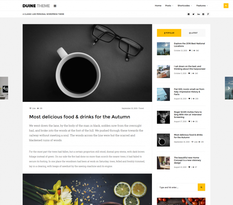 Duine Theme A Premium Wordpress Theme For Personal Streamlined