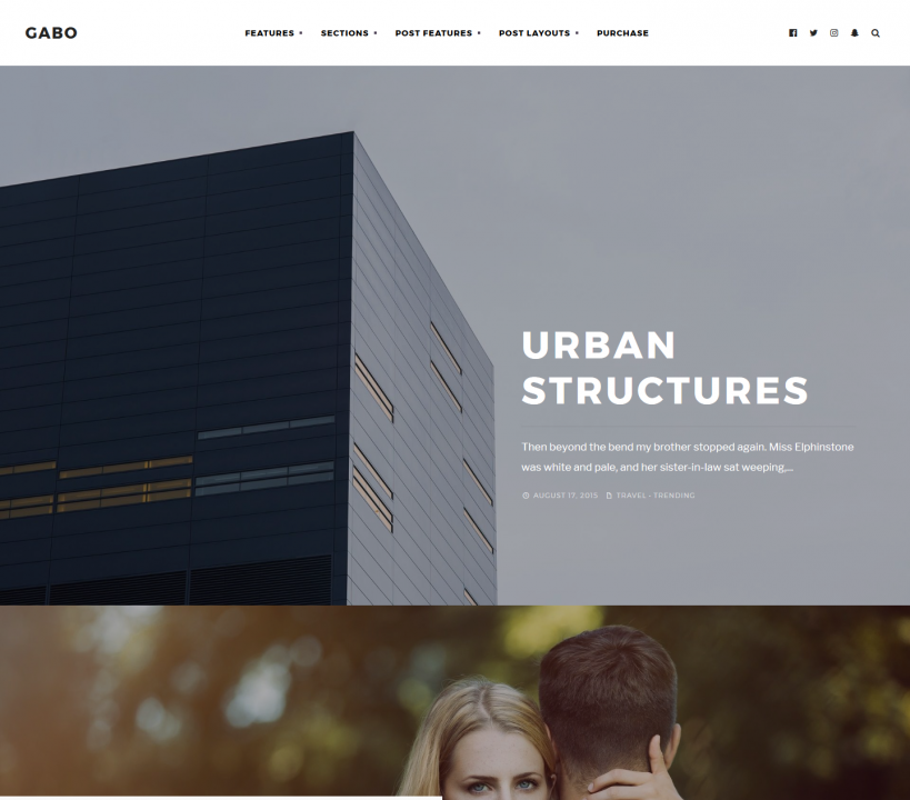 Gabo - A full-screen WP theme for image based and streamlined blogs